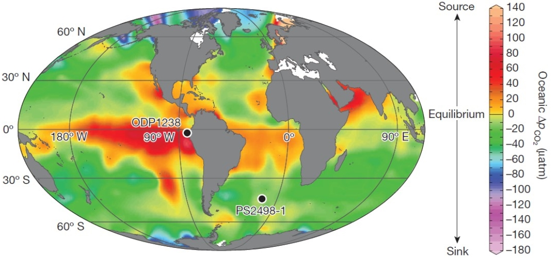 modern surface seawater disequilibrium w.r.t. CO2 (from Martinez-boti, 2015)