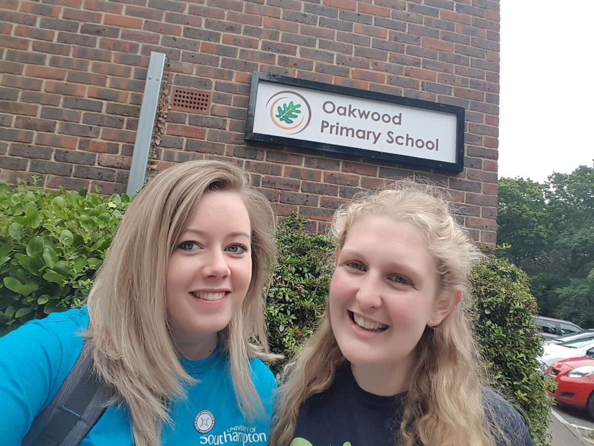 Hannah Donald and Rachael Shuttleworth visit Oakwood Primary School