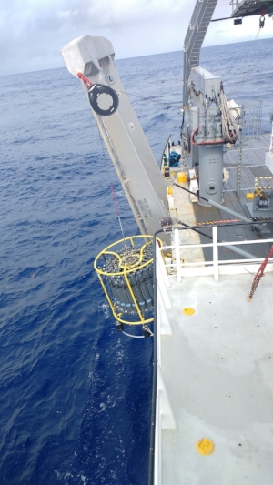 CTD as it enters the water and begins its' descent to 5500m!