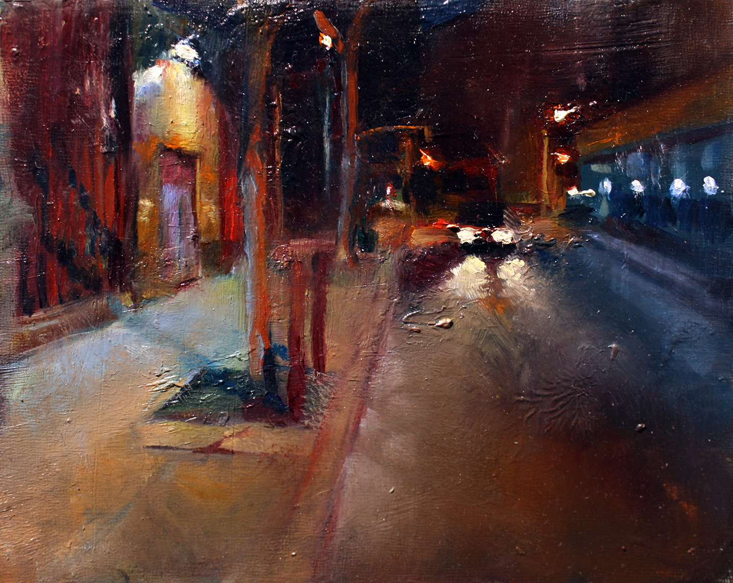 "Franklin Street, oil on wood panel, 8"" x 10"" x 1.5"", 2016 (sold)"