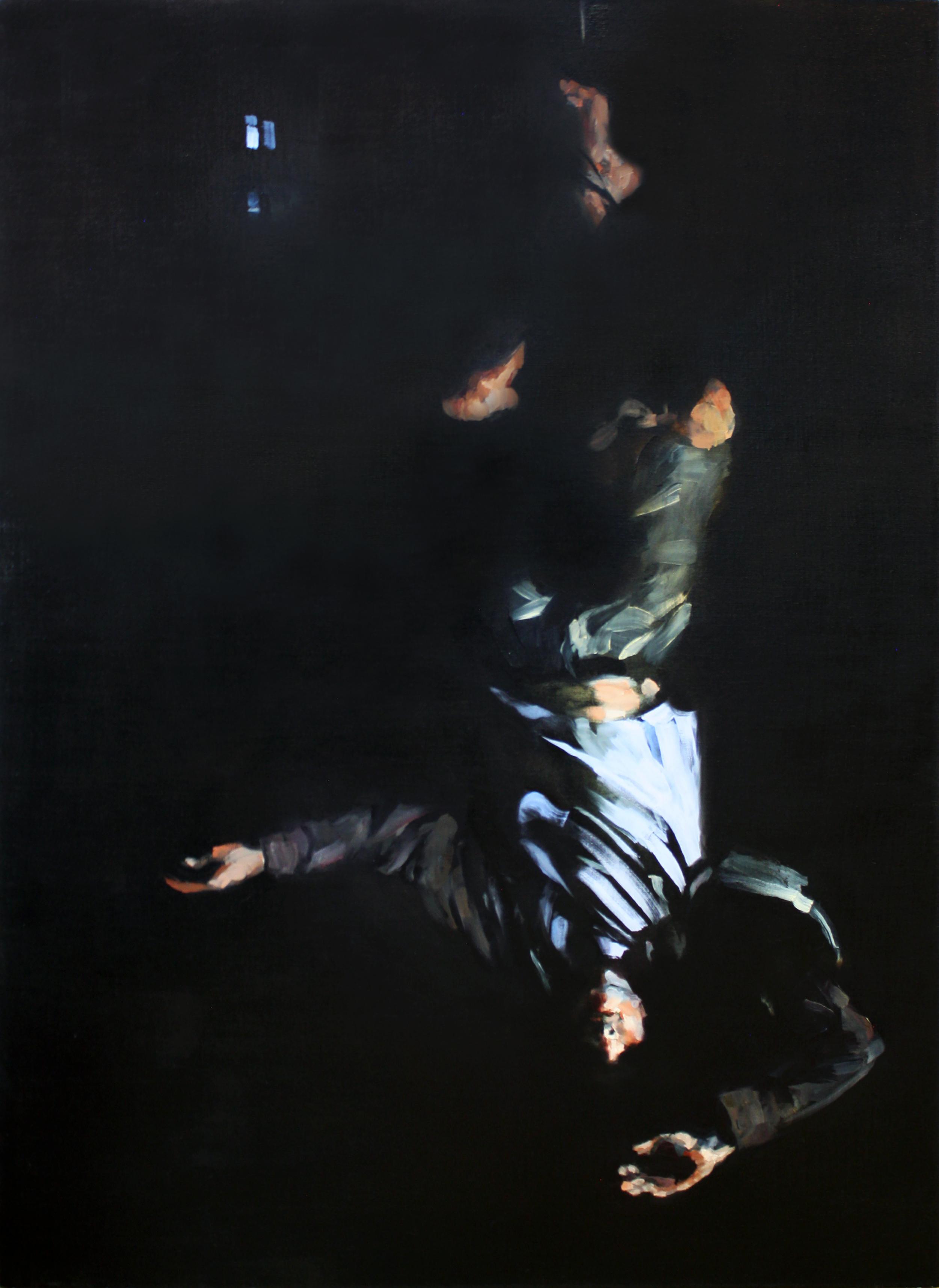 "Hanged Man, oil on linen, 59"" x 43"" x 4"", 2016 (sold)"