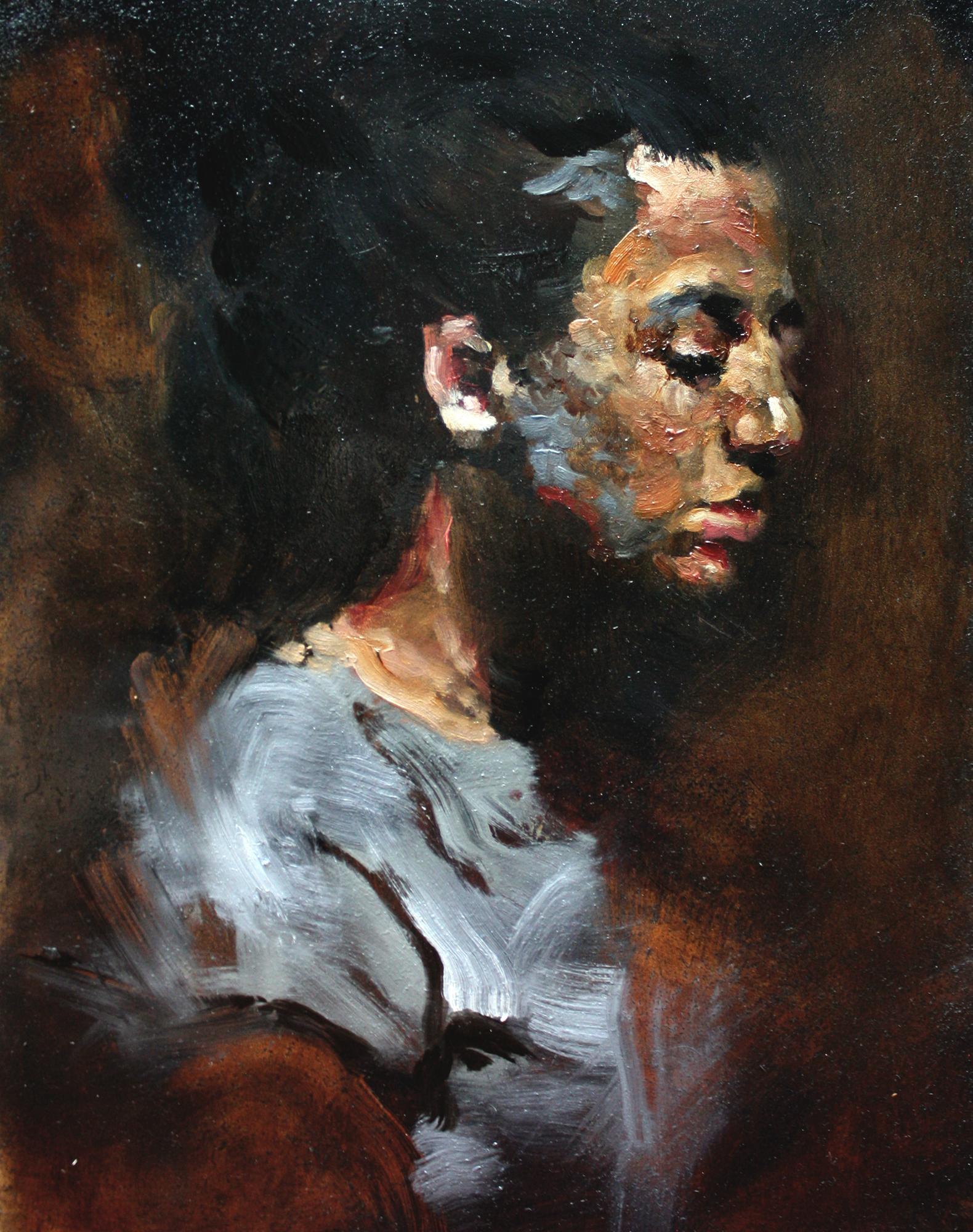 "Mariyah, oil on wood panel, 14""x11""x.75"", 2016 (sold)"