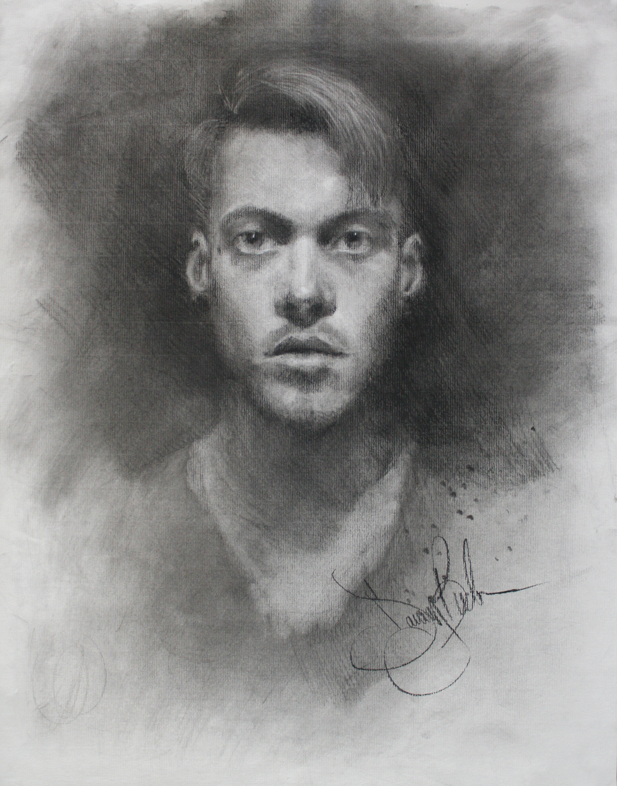 "Self Portrait, graphite and charcoal, 24"" x 18"", 2016"