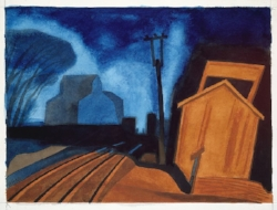 Modern Painting :  Flag Station, Elizabeth, New Jersey  (1925) Oscar Bluemner Watercolor on Paper 10 5/8 x 13 3/8 in. Courtesy of the  MET Museum