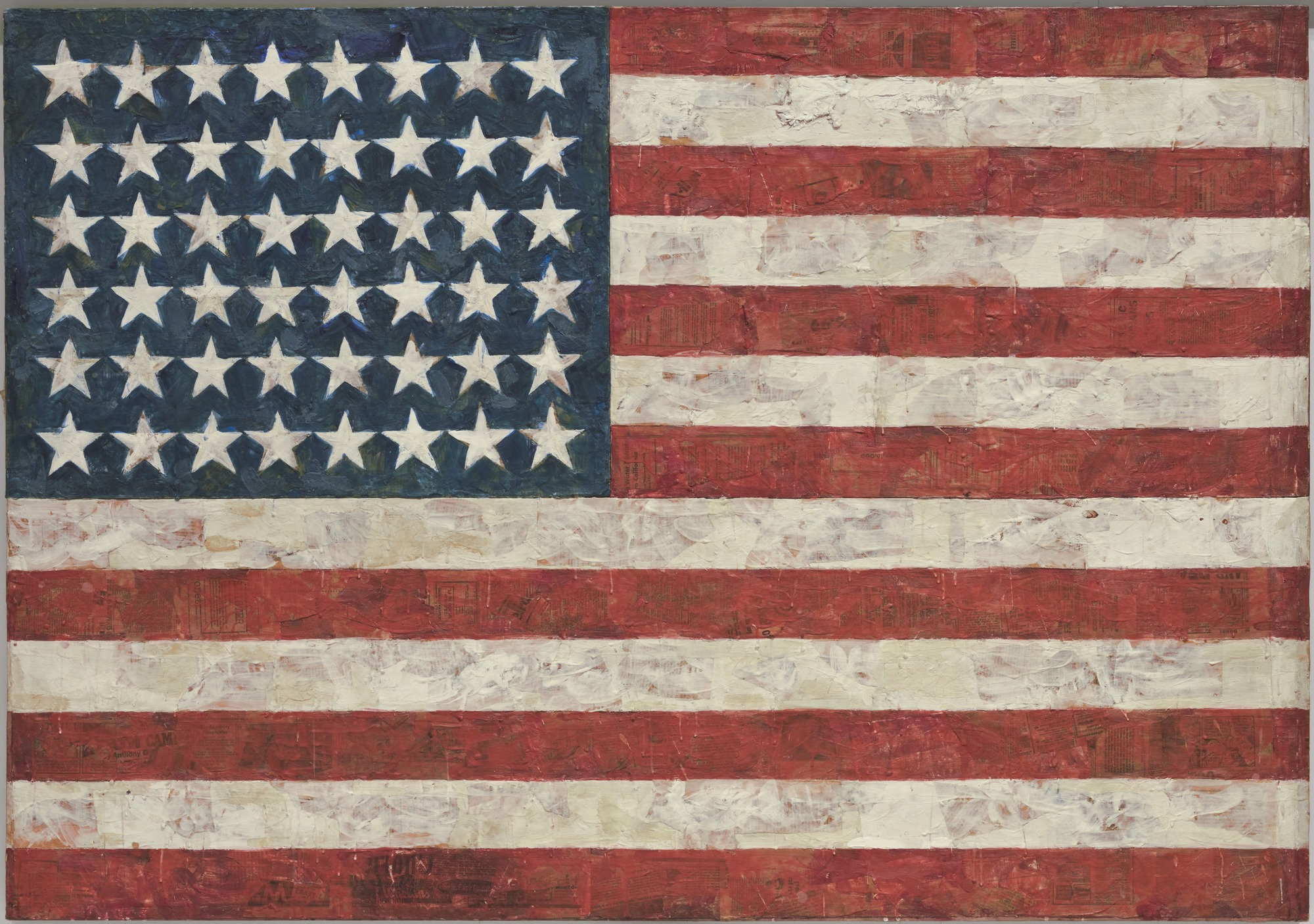 Flag    (1954-55)  Jasper Johns Encaustic, oil, and collage on fabric mounted on plywood, three panels 42 1/4 x 60 5/8 in. Image Courtesy of the  MoMA, New York