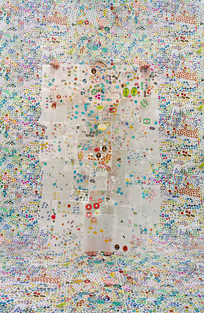 Lost in my Life (fruit stickers)  (2010)  Rachel Perry  Pigmented ink print  Image courtesy of Tufts University