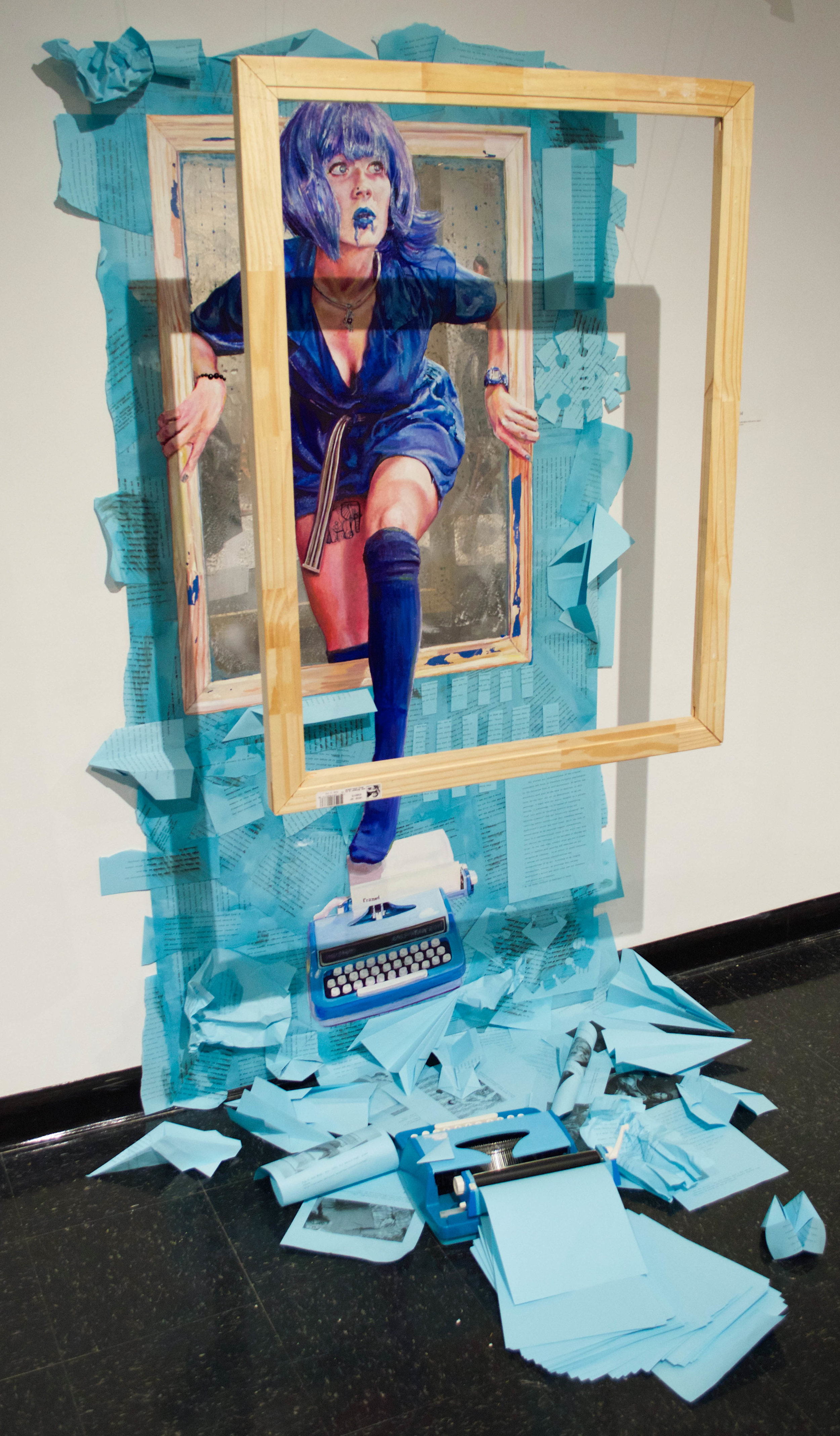 Framed Blue  2015 Oil and acrylic on Plexiglas with paper collage and mixed media 36 x 72 inches