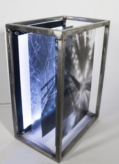 "Lacy Pathways ,Steel, Plexiglass, Transparent Film, 14"" x 10"" x 7"", 2014"