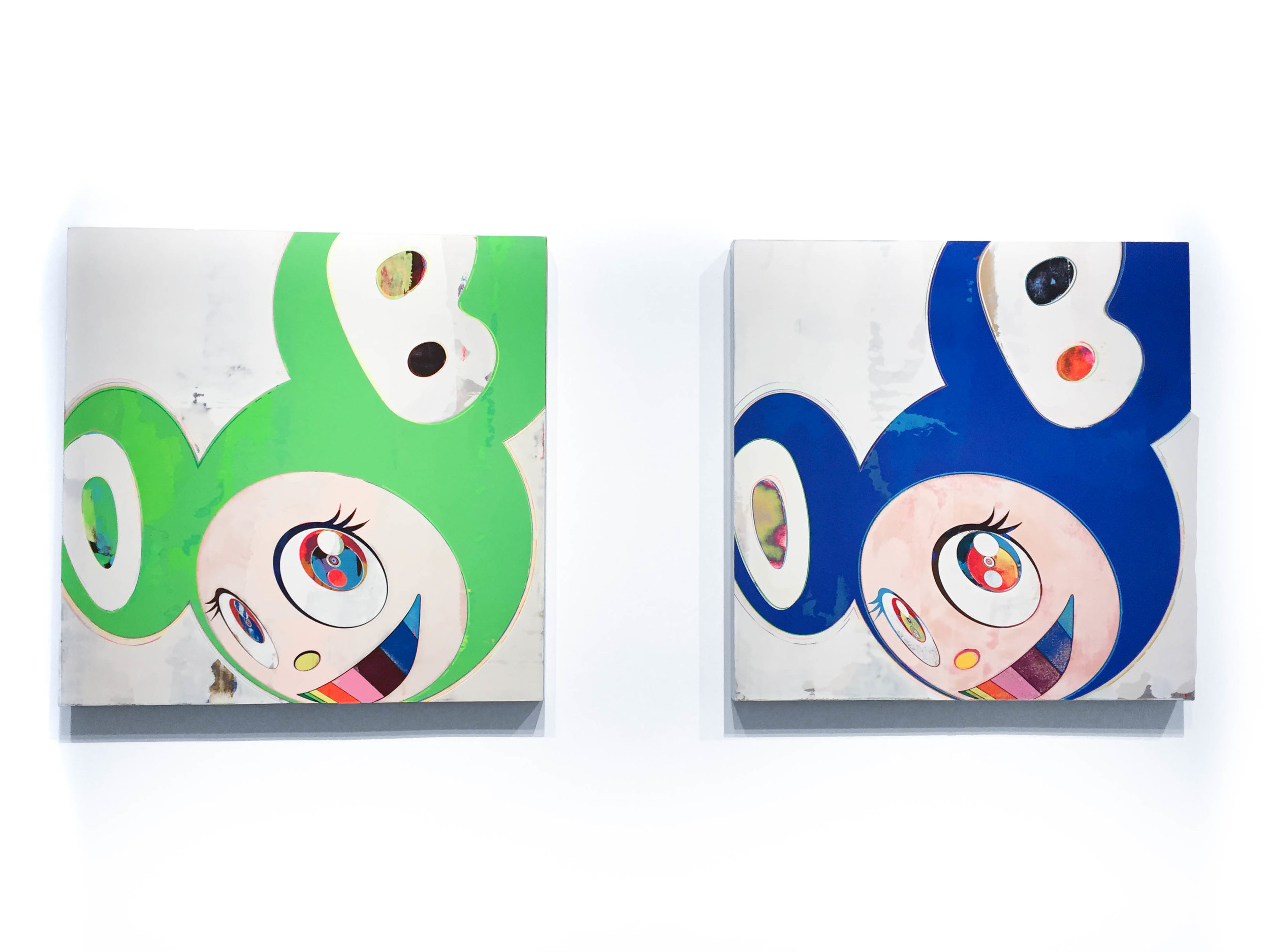 Left: Takashi Murakami,  And then, and then and then and then and then / Green Truth, 2006   Right: Takashi Murakami,  And then, and then and then and then and then / Original Blue, 2006