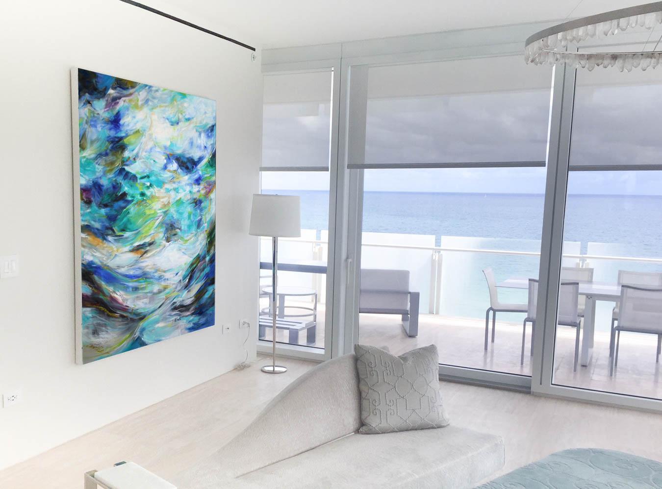 Installation of  Soul Sea I  (2017)  Natalia Wróbel . Oil on canvas. 72x60 in.