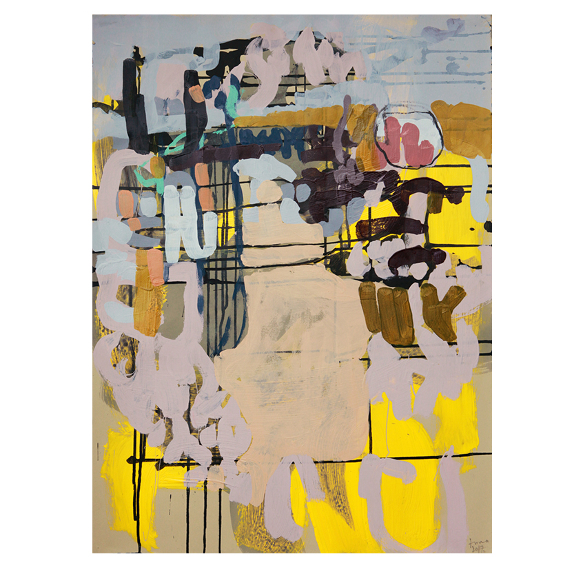 Anna Schuleit Haber. O46 Guilty Conscience .  mixed media on paper.34 3/4 x 27 in .
