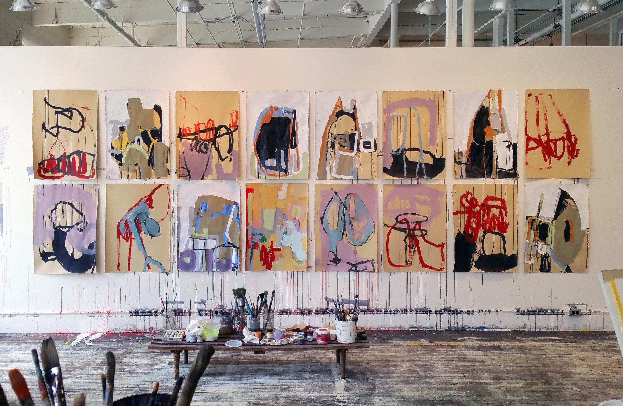 Works in progress at Anna Schuleit Haber's studio