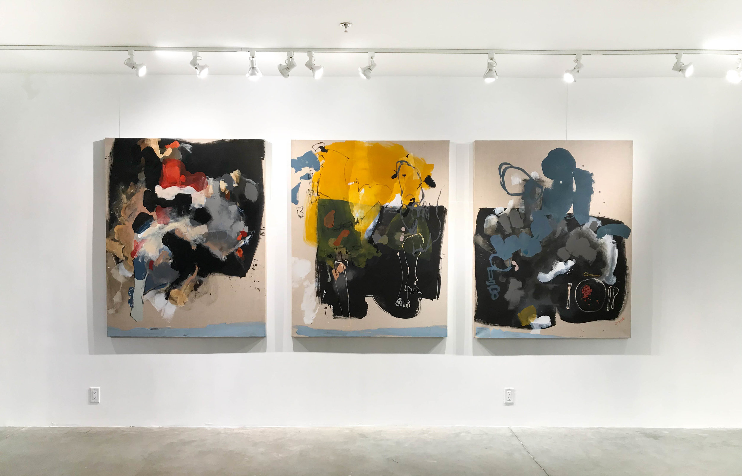 Untitled - Triptych, 60 x 144 in. Mixed media on Belgian linen. 2017