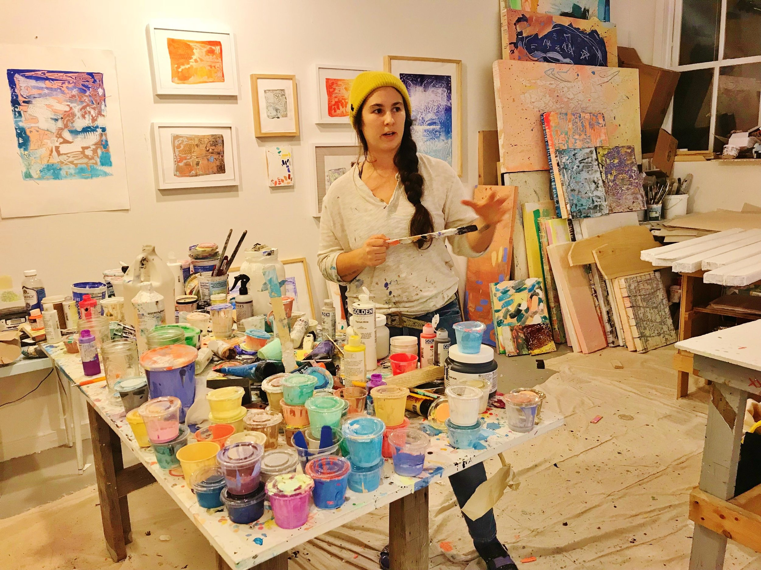 Jenna Pirello in her Fine Arts Work Center studio in Provincetown, MA 2018. Image courtesy of Ann Wood at  Wicked Local Truro.