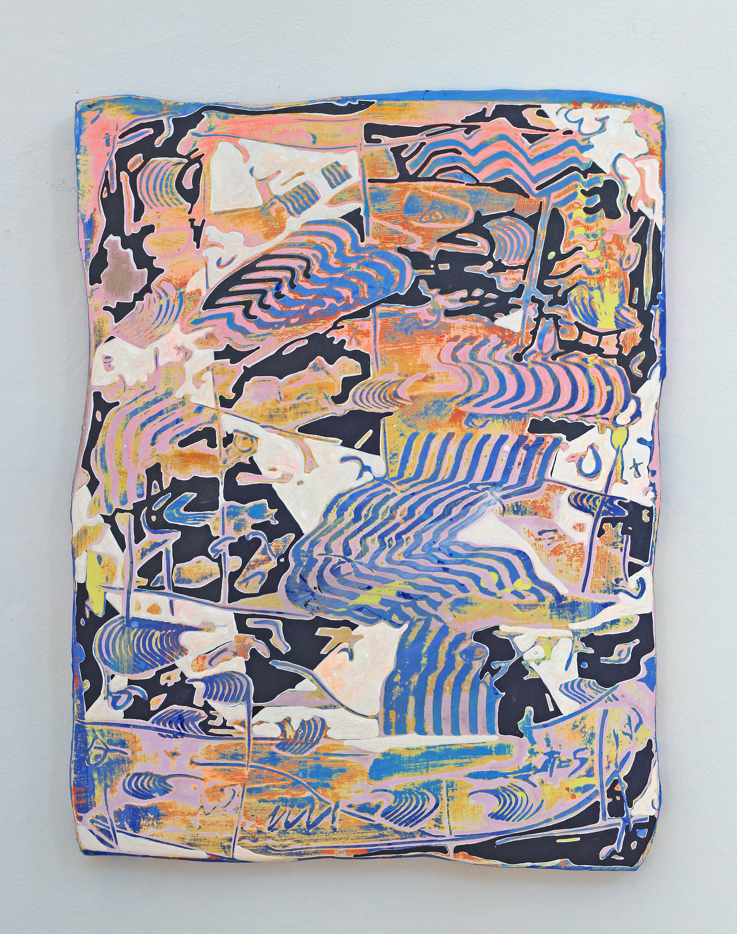 Soft Shock  . Jenna Pirello, Acrylic on wood, 18 x 14 in.
