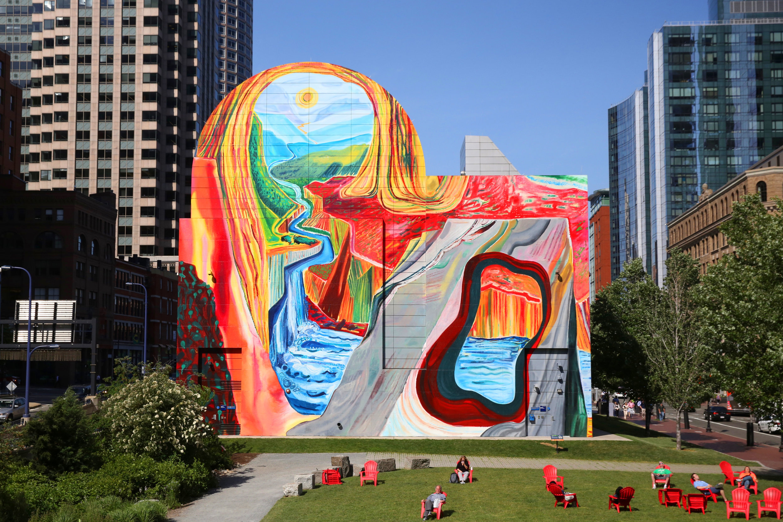 Shara Hughes, Carving Out Fresh Options, 2018, Mural, 70 x 76 feet, Courtesy of the Greenway Conservancy. Photo credit: Todd Mazer Photography