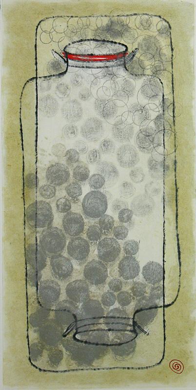 Lost Jar 4  Carborundum Collagraph 35 x 28 in. (framed)