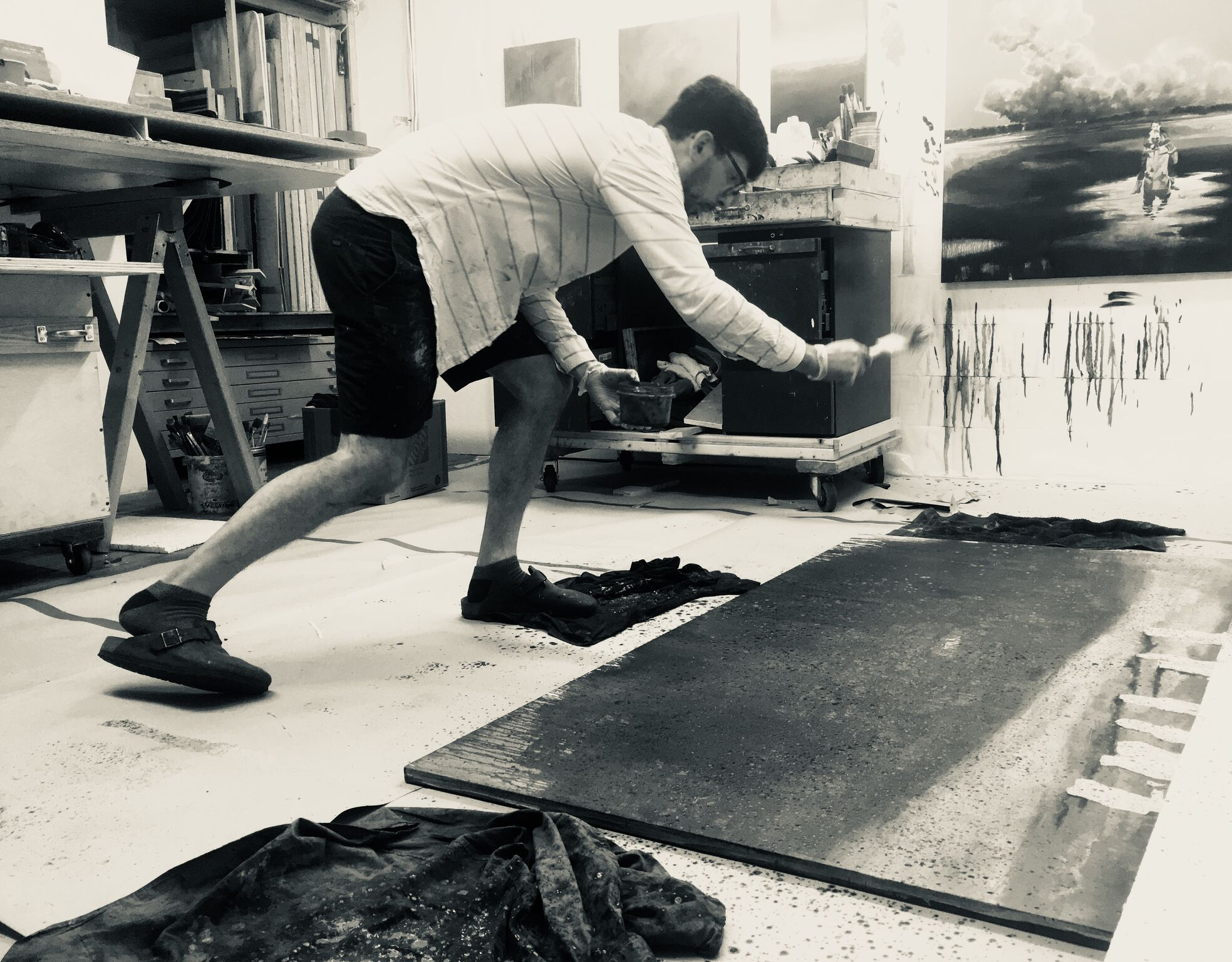 Neusser working in his studio, Summer 2018. Image courtesy of the artist.