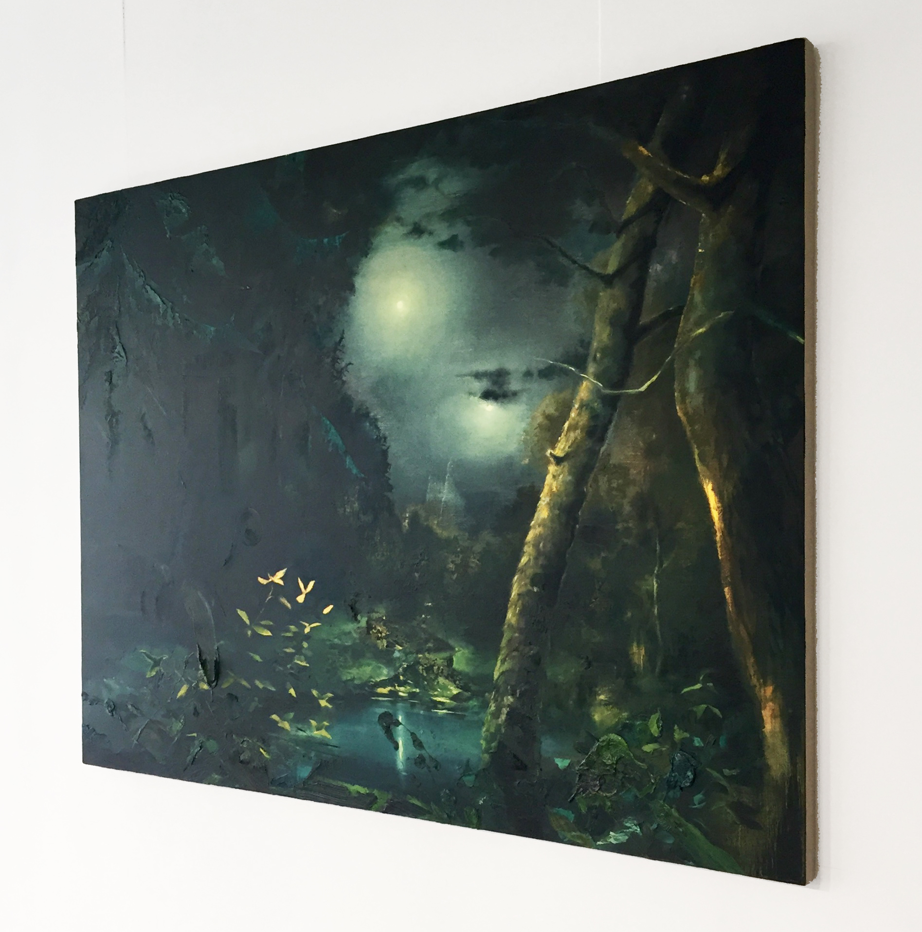 Nocturne/Doublemoon (1729) , oil on canvas, 48 x 68 in. installed in the Abigail Ogilvy Gallery.