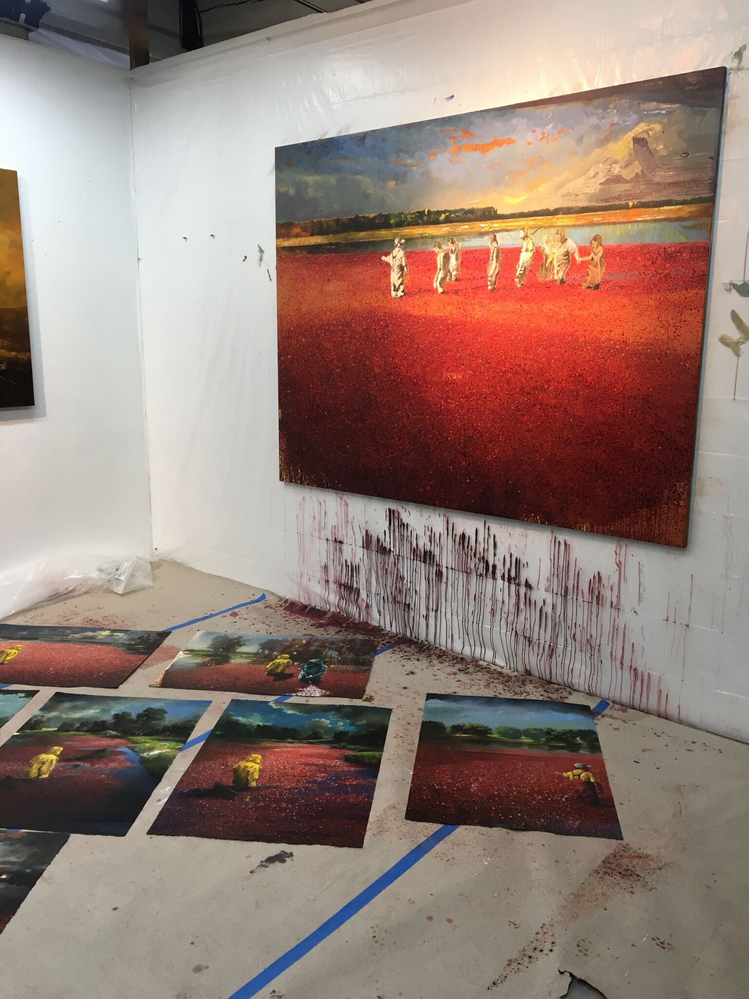 Several of Neusser's cranberry bog paintings for  Field Trip , his solo exhibition in Karlsruhe, Germany.