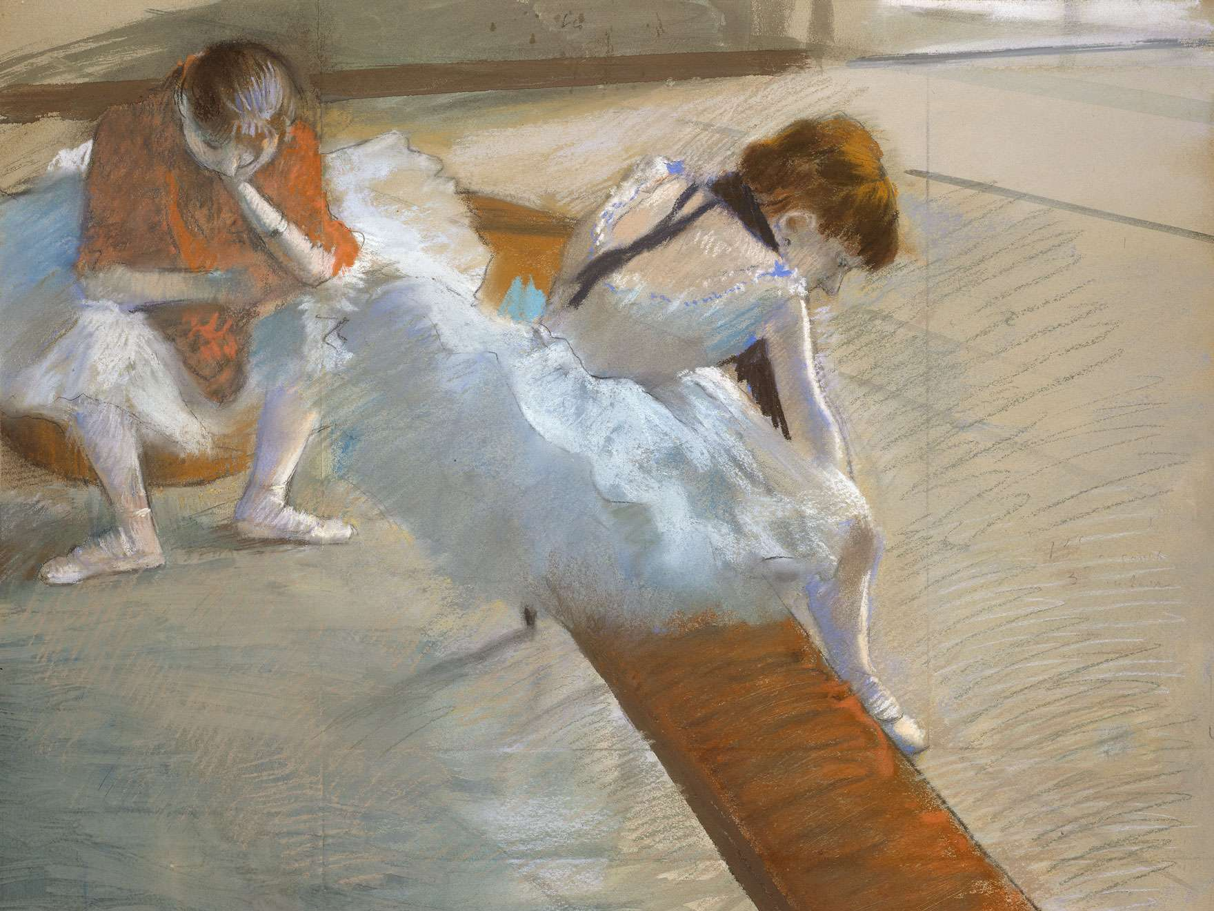 Edgar Degas,  Dancers Resting , 1881–85. Pastel on paper mounted on cardboard. Juliana Cheney Edwards Collection. Source: MFA website.