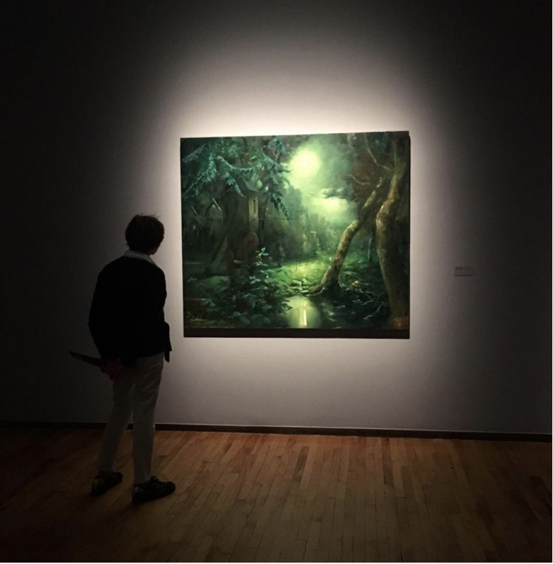 Wilhelm Neusser,  Nocturne/Doublemoon (1728) , 2017, Oil on Canvas, 57in. x 67in. on display at MASS MoCA. Source: Wilhelm Neusser Instagram (@wilhelmneusser).