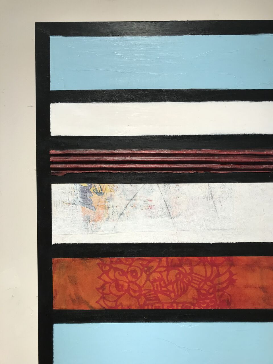 "Detail of  Process,  2018. Mixed Media and found papers on wood panel. 36 x 12""."