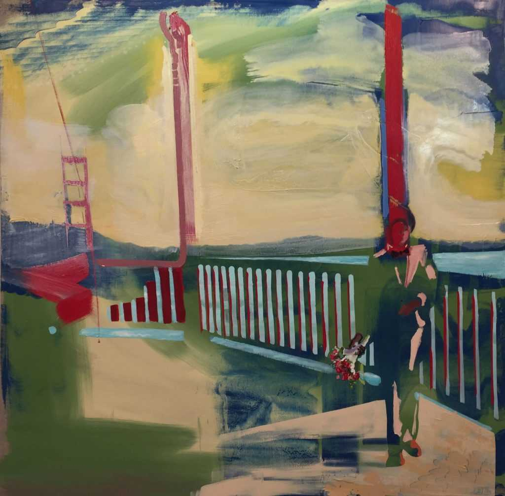 Andrew Fish,    Bride on the Bridge , 2018, Oil on linen, 54 x 54 in. Image courtesy of  Childs Gallery .