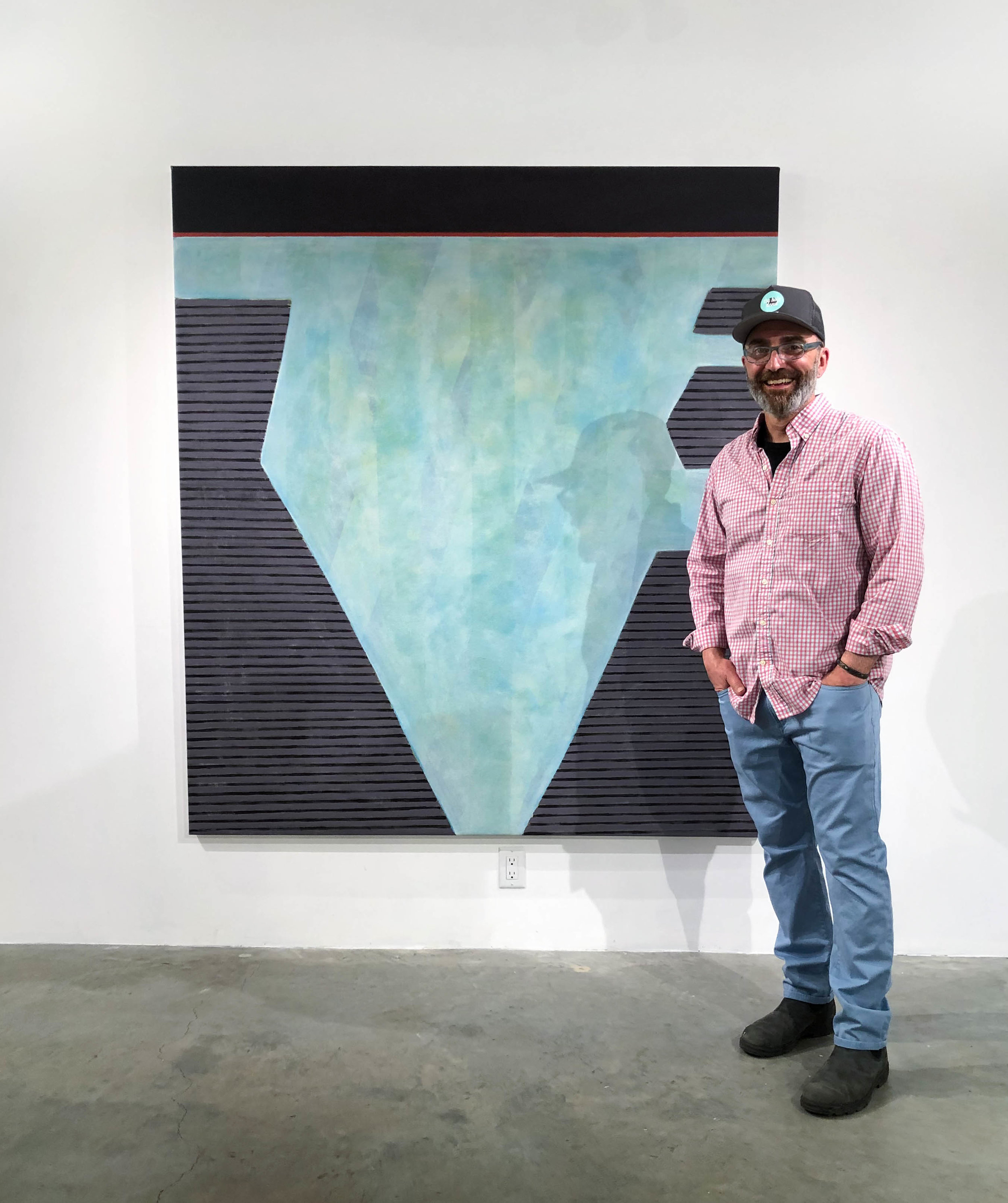 Artist Richard Keen in front of his work at Abigail Ogilvy Gallery: Form Singularity No. 165, Acrylic and Oil on Canvas, 72 x 64 in., 2019