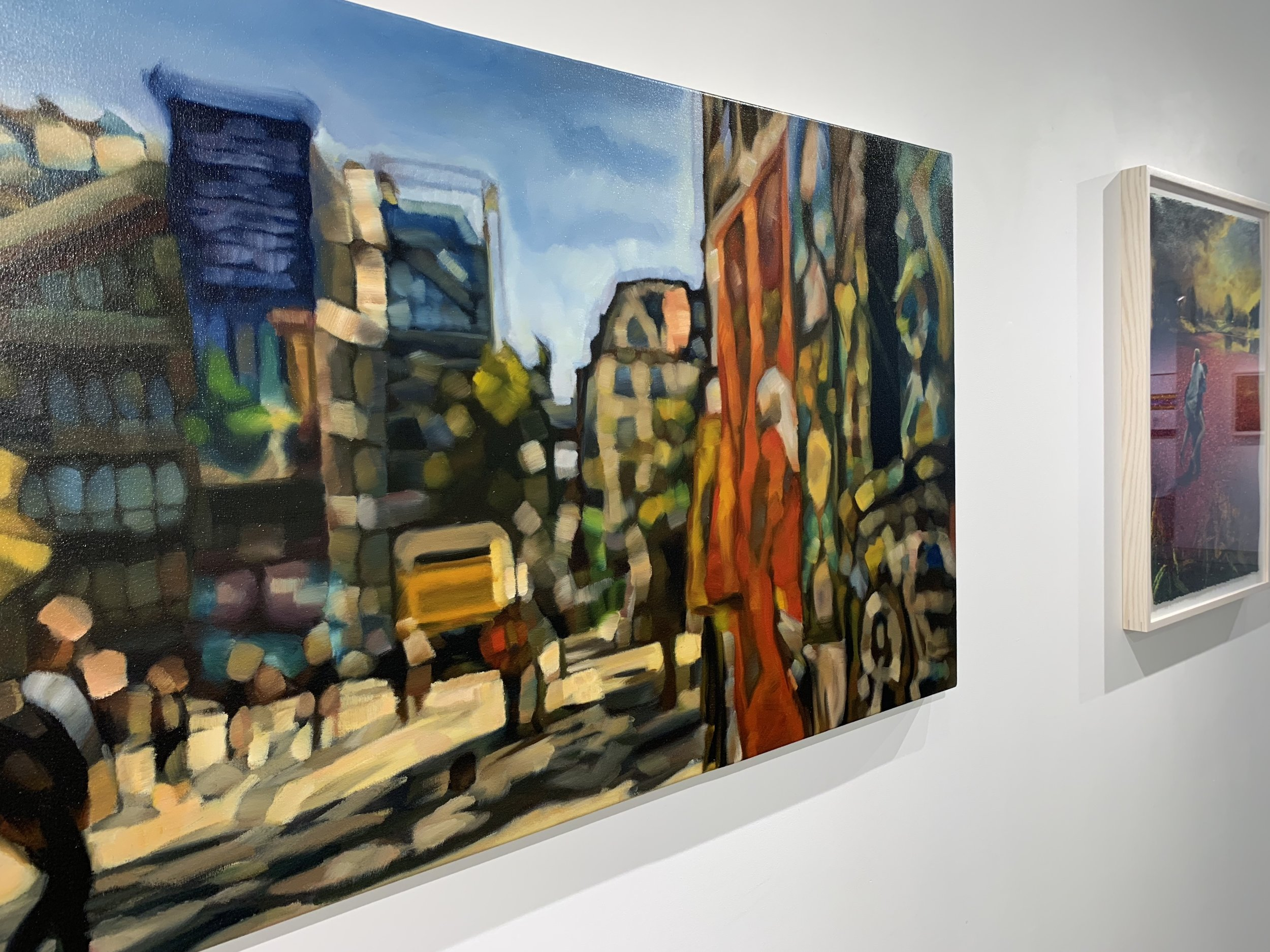 Mishael Coggeshall-Burr,  Pompidou Graffiti , Oil on canvas, 30 x 48 in., 2019; On view in PICNIC at Abigail Ogilvy Gallery June-August 2019