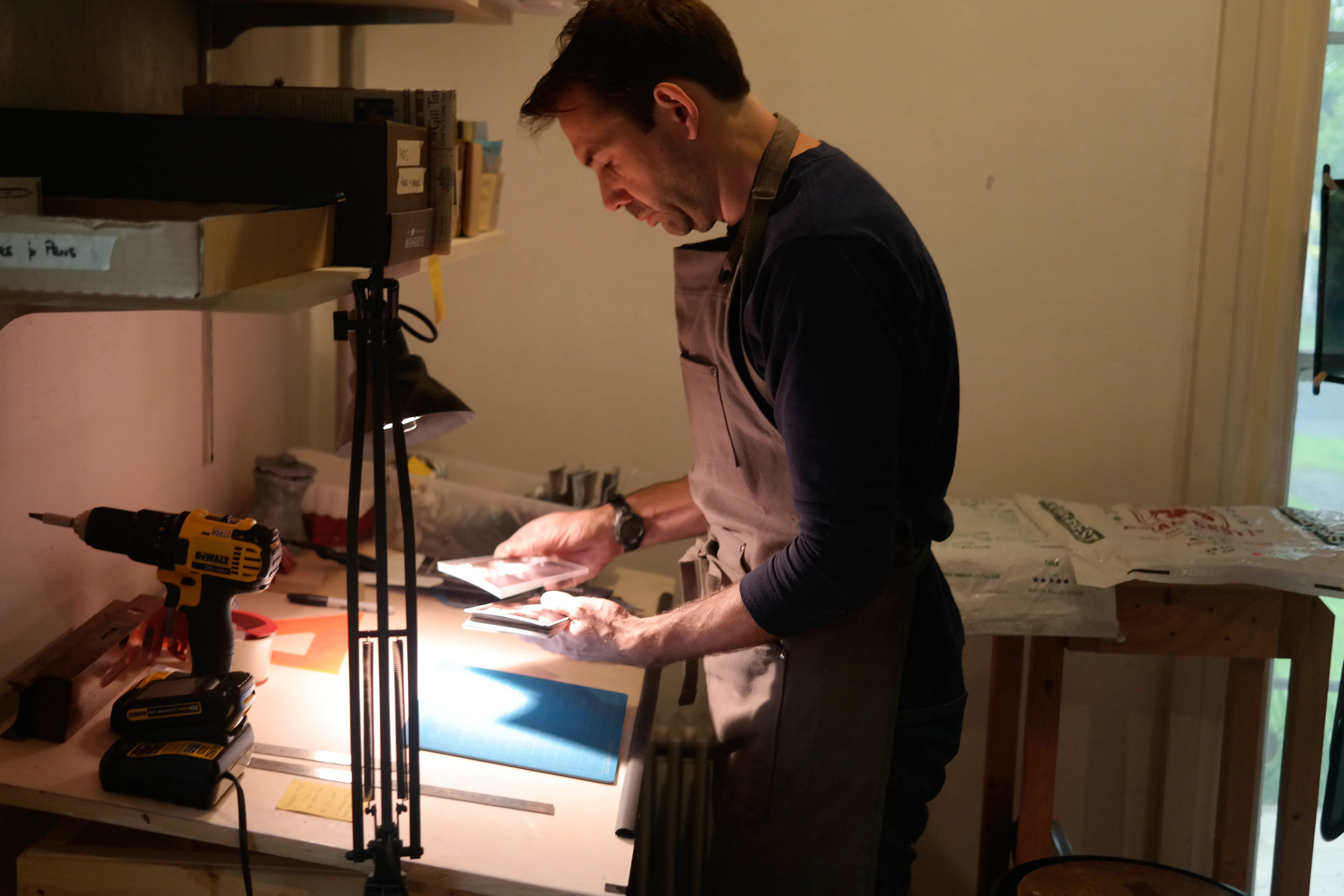 Mishael Coggeshall-Burr in his studio. Photo courtesy of the artist, 2019.