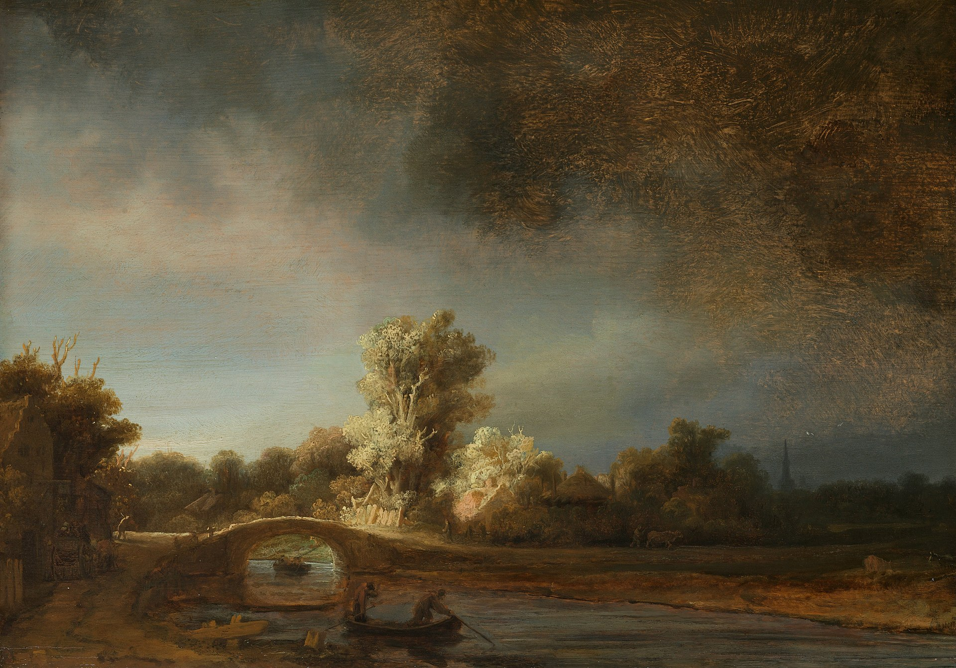 Landscape with a Stone Bridge, Rembrandt van Rijn, c. 1638  oil on panel, h 29.5cm × w 42.5cm × d 5.5cm  Image Courtesy of Rijksmuseum