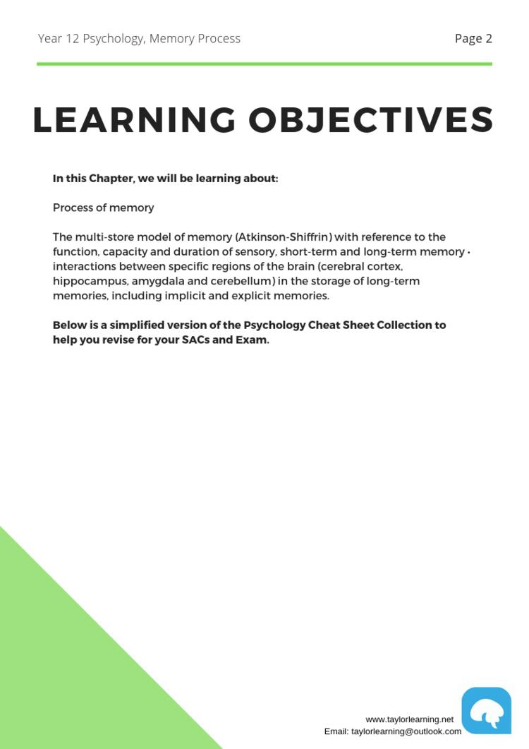 Comprehensive Psychology Notes- Memory Processes