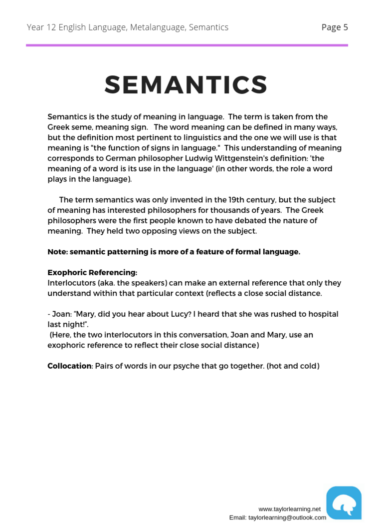 English Language Comprehensive Notes — Taylor Learning I Melbourne Tutoring  I Free VCE notes I Exams revision, Preparation Online