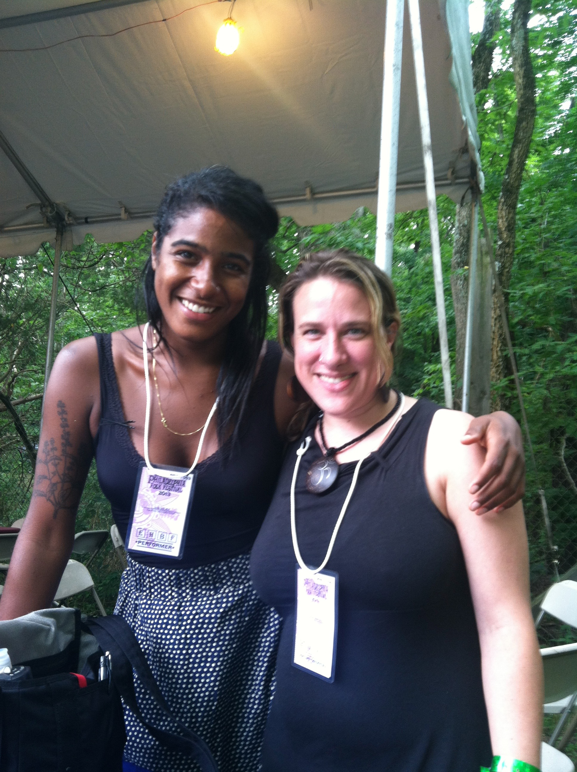 Backstage at the Philadelphia Folk Festival with Leyla McCalla from the Carolina Chocolate Drops