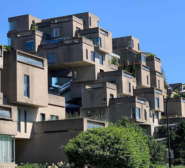 Built as a pavilion for the World's Fair, #habitat67 by architect #moshesafdie in #montreal is exemplary of #prefabricated and dense #urbanhousing  Almost Lego like - the stacked configurations result in terraces and #panoramic views of the city and river from the interior.  Safdie's unit has been restored and was fantastic to visit as part of our extremely informative guided tour . . . . . . . . . . . . . . . . . . . . . . . . . #brutalistarchitecture #architecturelovers #architecturaldesign #architecture #concrete #indooroutdoorliving #terraces #roomwithaview #archidaily #archdaily #historyofarchitecture #framelesswindows #windows #stlawrenceriver #urbanplanning #urbandesign #dezeen #density #architecturephotography #brutalism