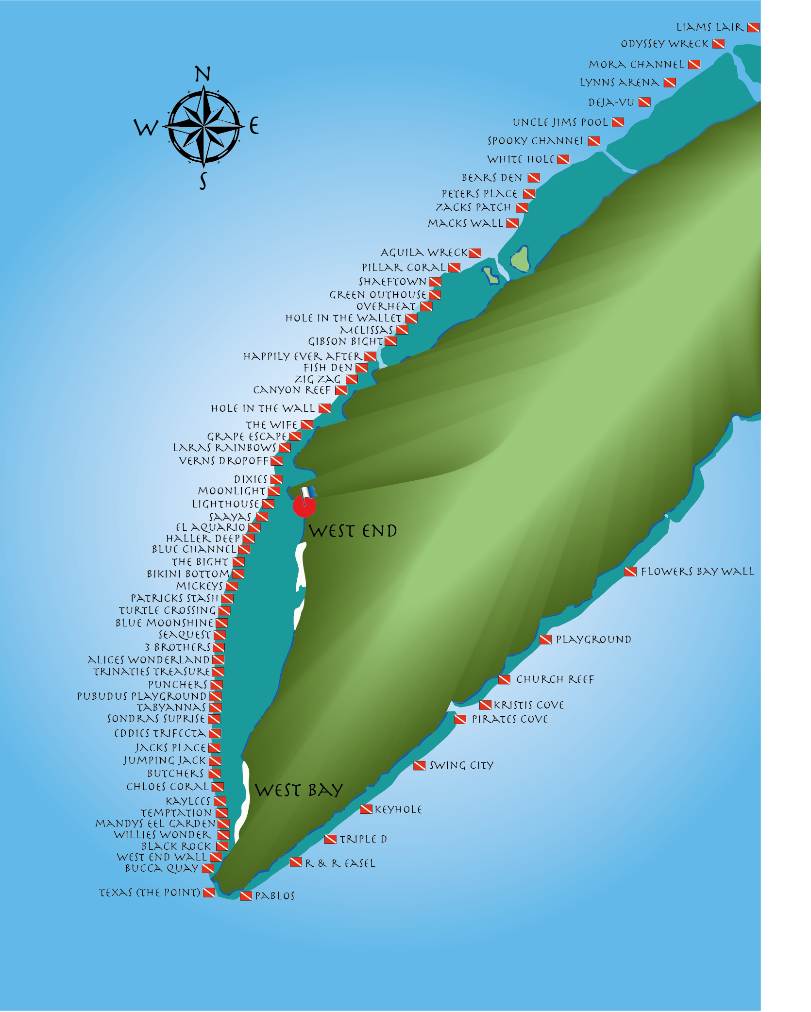 These are just a few of the dive sites that cover the West End of Roatan - if we tried to include them all, we'd need a much bigger map!