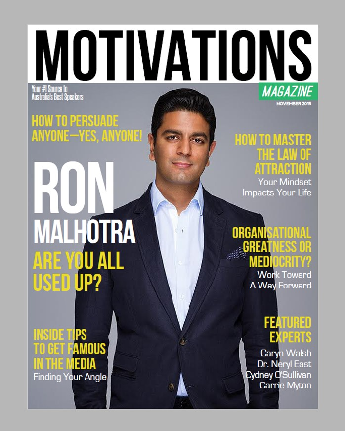 As featured on the cover of Motivations Magazine in November 2015