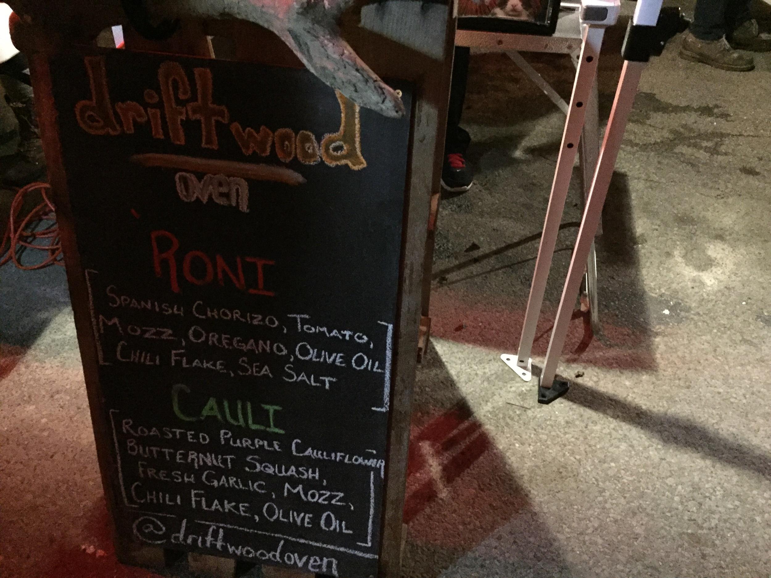 Driftwood Oven's Pizza Dojo lineup