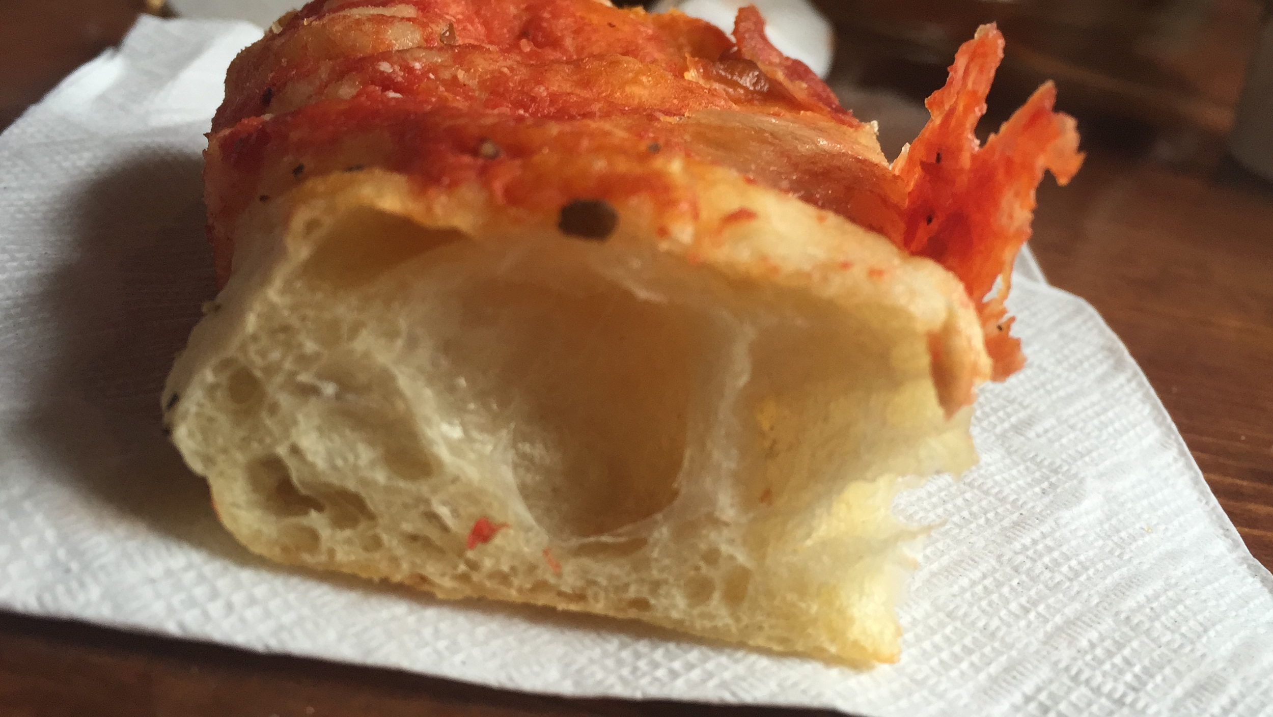 A slice of Tony  Giaramita's Pizza al Taglio from when he was bringing pizza to Espresso a Mano.