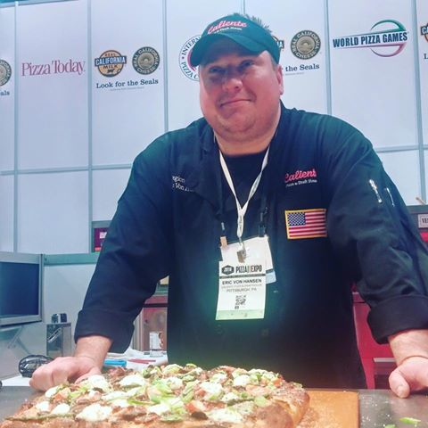 Here's Eric posing with his award winning pan pizza.