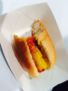 Half Eaten Hot Dog from Pizza Expo. Photo by Tom Tallarico