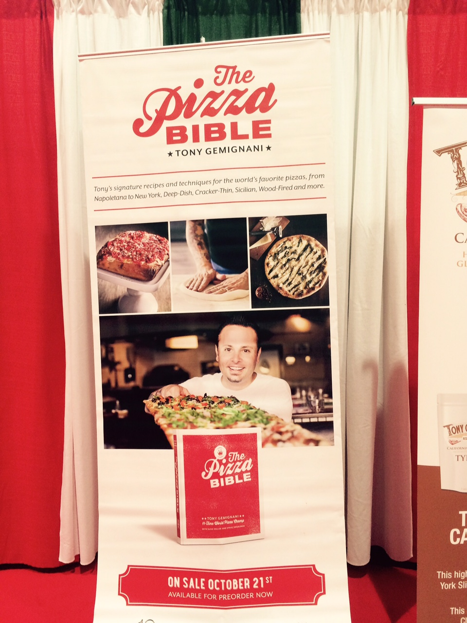 Banner showcasing Tony G's book, The Pizza Bible. Photo by Tom Tallarico.