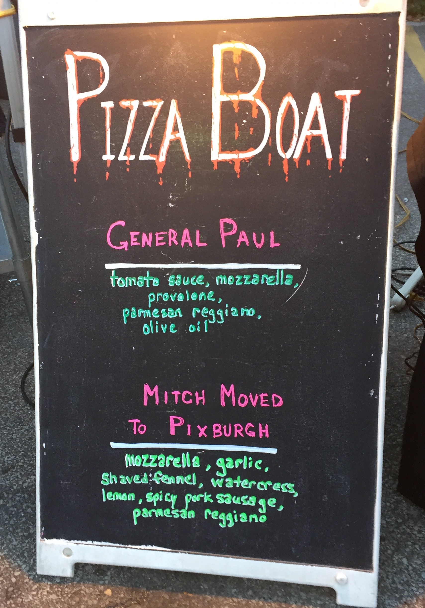 Pizza Boat's spooky (and delicious) menu. Deceptive and full of tricks at every corner.