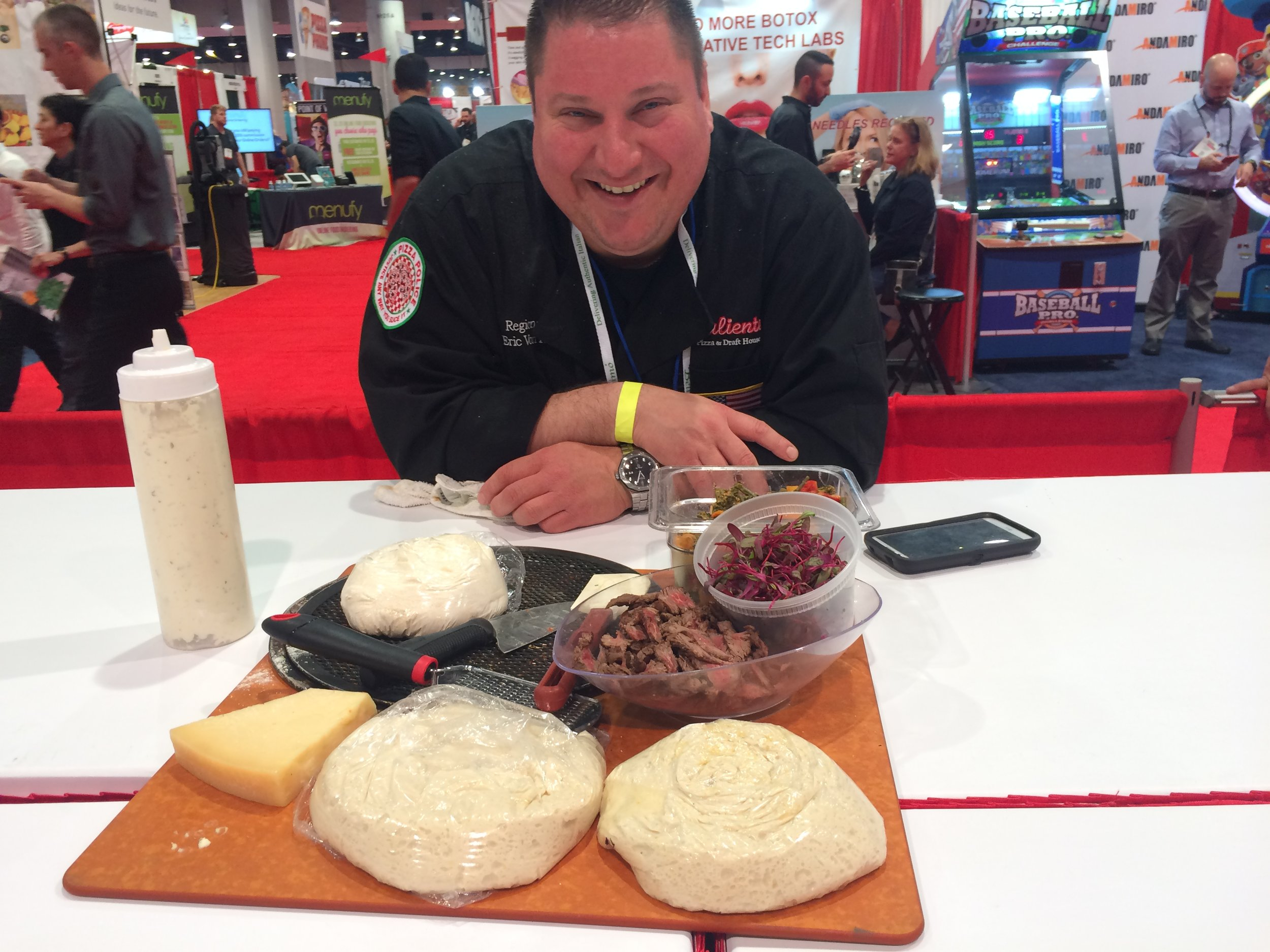 Eric Von Hansen of Caliente waiting to compete at the 2017 Pizza Expo