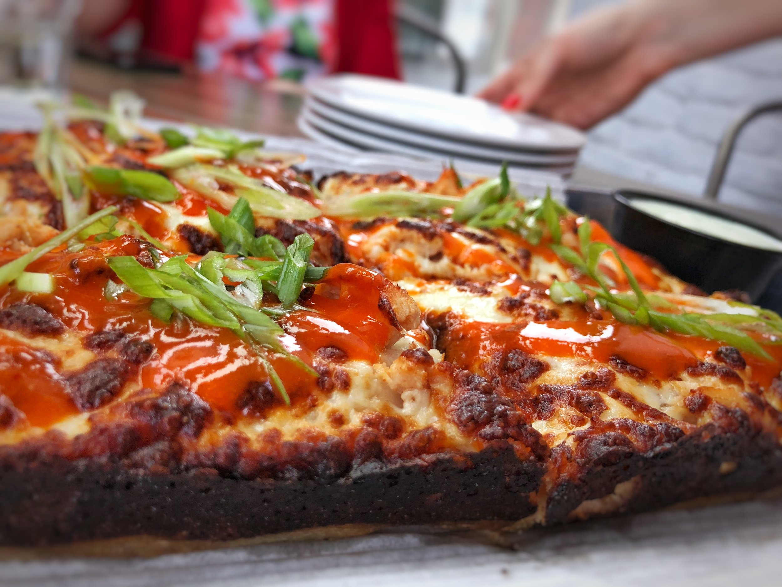 A nice side shot of the Buffalo Chicken Pizza