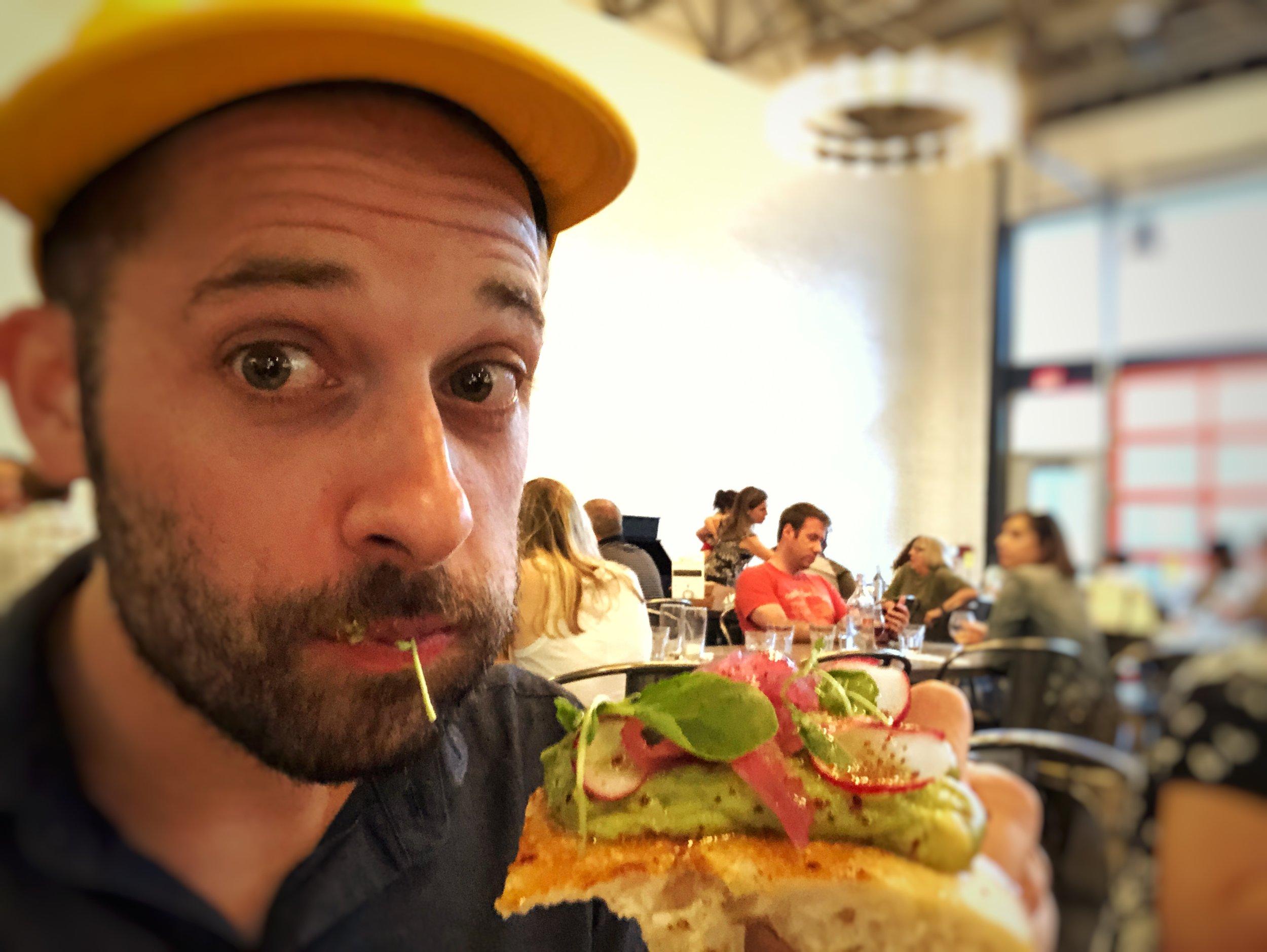Pizza Journalist Dan Tallarico Eating Tallarico Toast