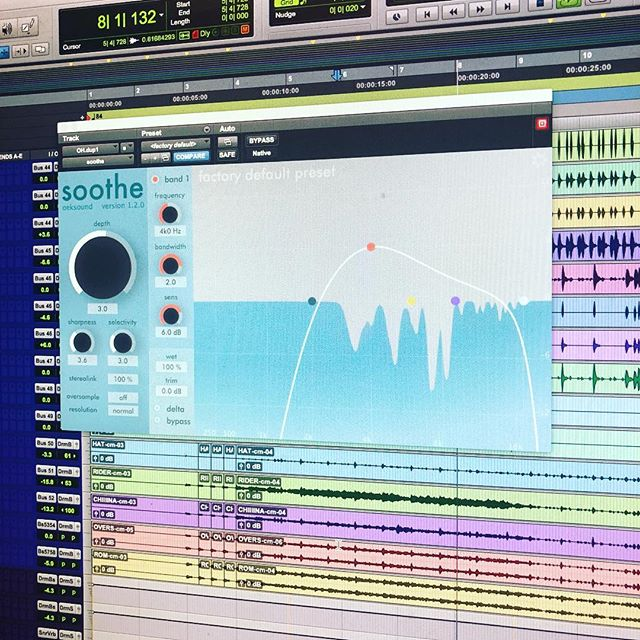 Finally got to try out @oeksound Soothe and I'm now convinced magic may be real. This thing is killer! #Central8Studios #Mixing #Plugins #ProTools #Soothe #Drums