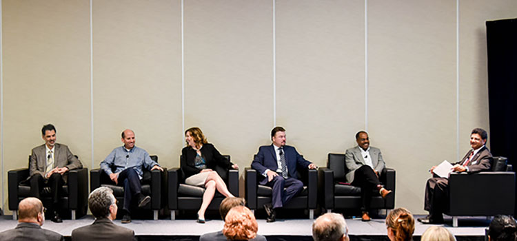 Left to Right: Paul Apen, Chief Strategy Officer at E Ink Corporation, Greg McNeil, Vice President at Flex, Jennifer Davis, Chief Marketing Officer at Planar/Leyard International, Steve Squires, Chief Executive Officer at Quantum Materials Corporations,  A l Green, Chief Executive Officer at Kent Displays, and  Sri Peruvemba, Head of Marketing at SID