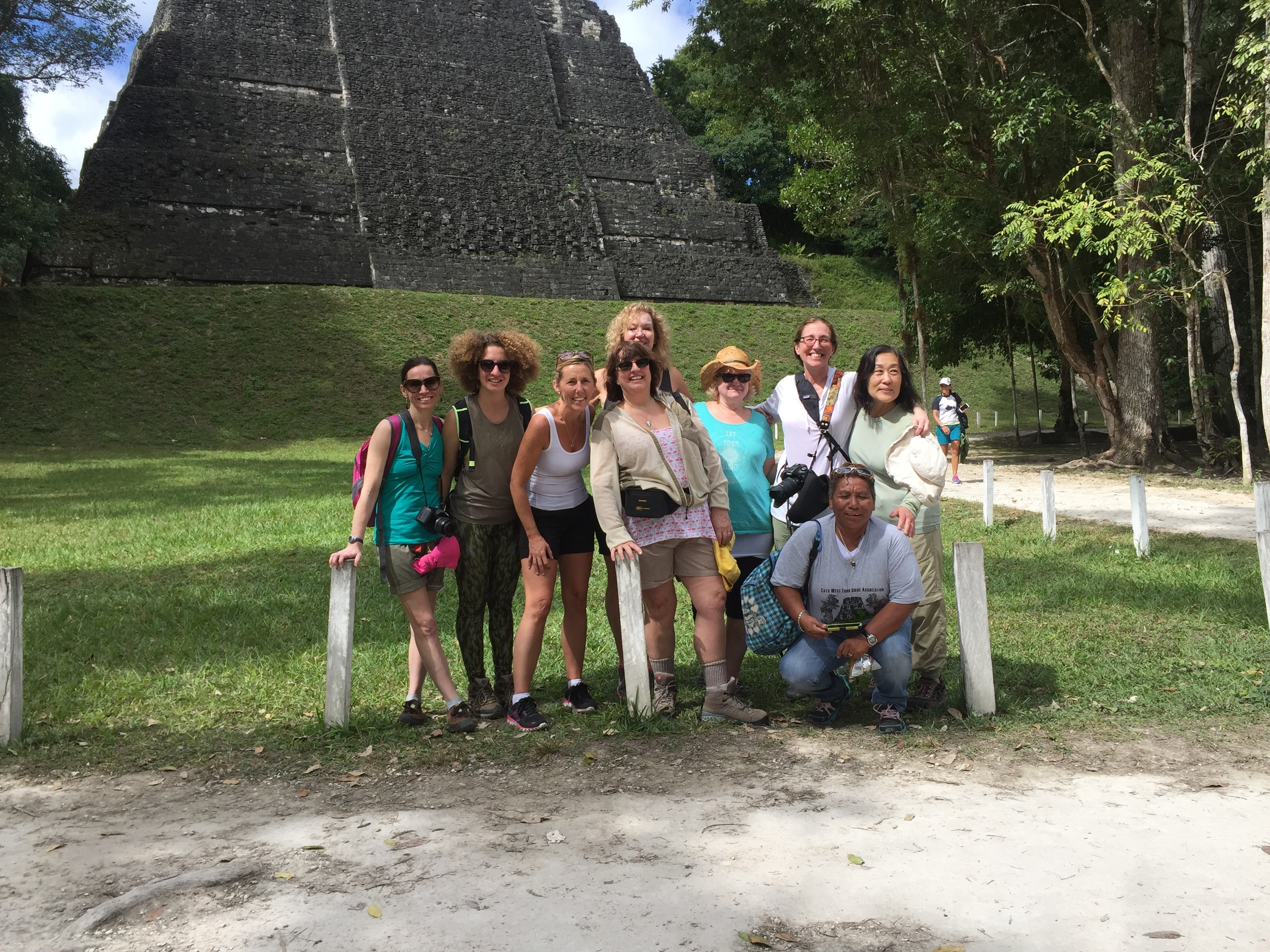 """We finally made it to Tikal!! Wow, what an amazing place and energy there, hearing and seeing the Howler Monkeys…I felt like I was in """"Indiana and The Temple of Doom""""!! So cool and fun, we were doing yoga poses and being gitty!"""
